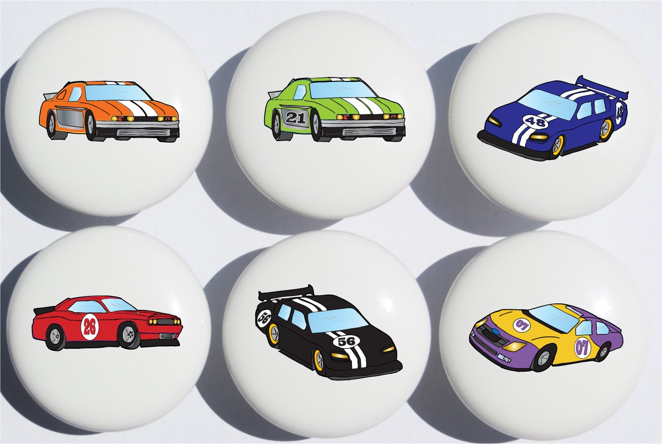 Stock Race Car Drawer Pulls / Race Car Childern's Nursery Decor Ceramic Drawer Knobs, 6 Set
