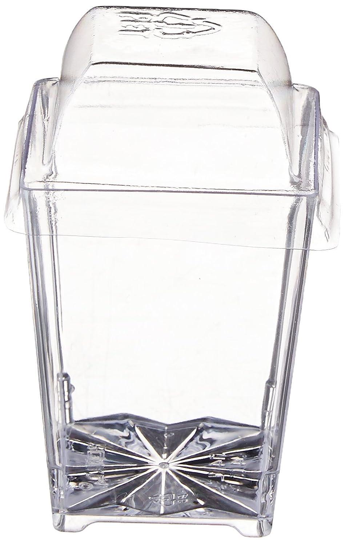 Clear Lake Enterprises Parfait Dessert Tumbler Cups with Dome Lids, 4-Ounce, Translucent, Square, 50-Pack CLEST50