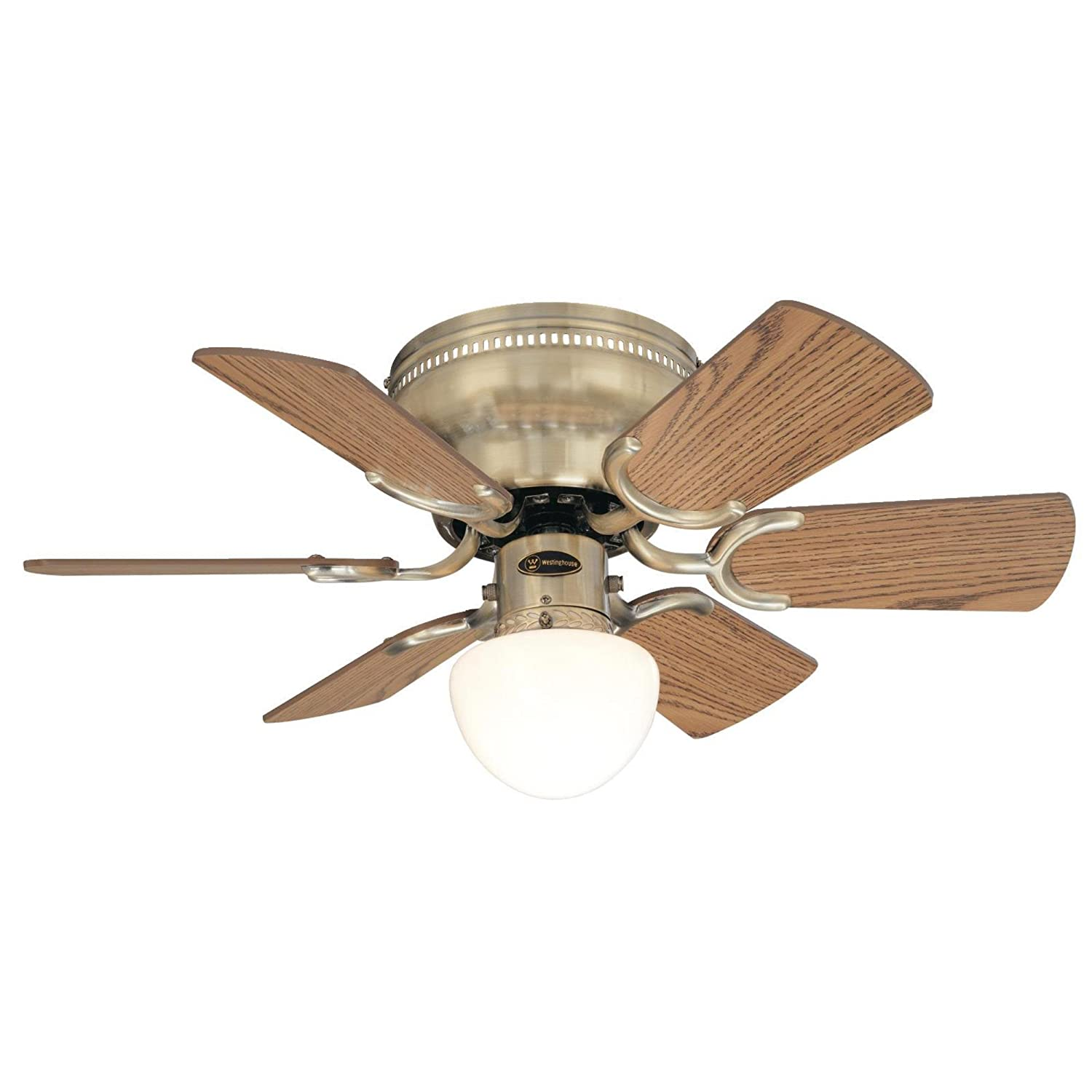 Westinghouse 7215800 Petite Single Light 30 Inch Reversible Six White Low Profile 42 Ceiling Fan Wiring Diagram Model Blade Indoor Antique Brass With Opal Mushroom Glass