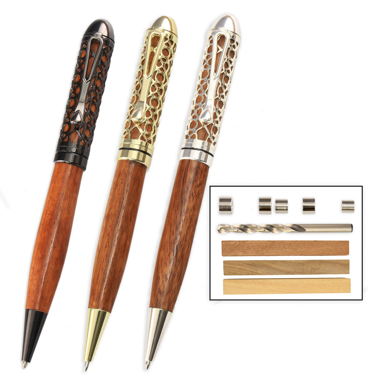 Legacy Woodturning, European Filigree Pen Kit Starter Pack with Bushings, Hurricane M42 Cobalt Drill Bit, Pen Kits, Wood Pen Blank Sampler Pack