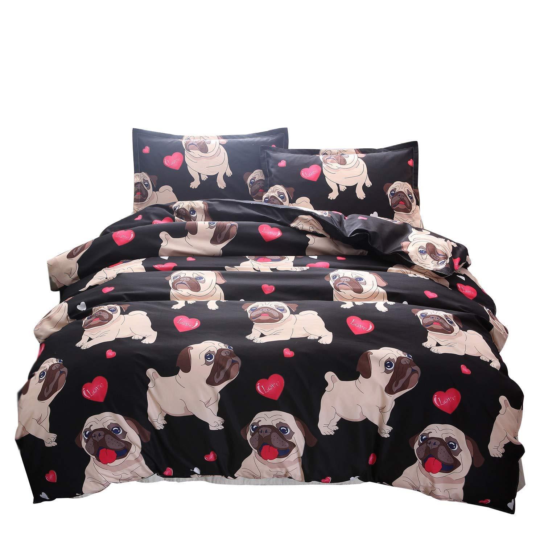 Cartoon Bulldog Printed Bedding Set Twin for Girls Boys Animal Theme Puppy Dog Bedding Duvet Cover Kids Black Brown Soft Lightweight Comfortable Bedroom Decorative 3 Piece Comforter Cover Teen Modern