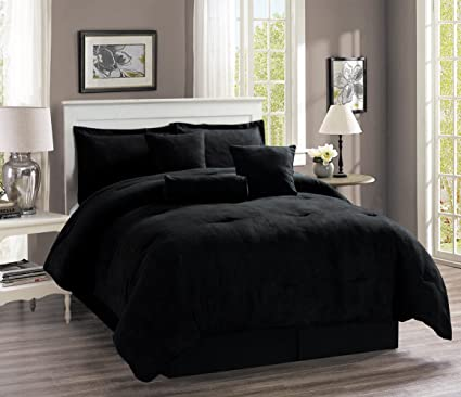 7-Piece Oversize SOLID BLACK Micro Suede Comforter Set QUEEN Size Bedding