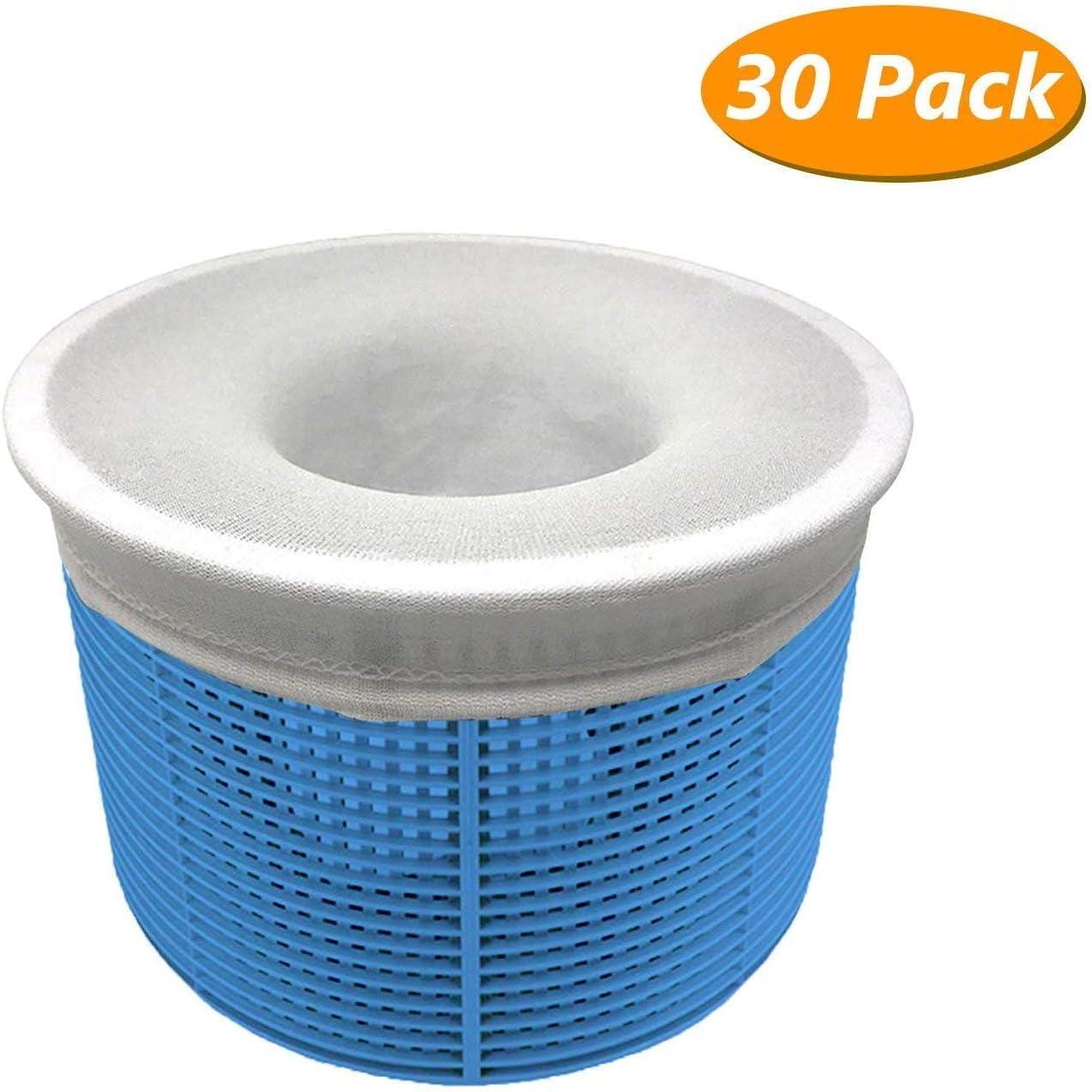 Aiglam 30 Piezas Calcetines de Piscina, Calcetines Protectores para Filtros de Piscina para Cesta de Filtro Skimmer, Forro de Malla de Malla Ultra Fina para Cesta de Piscina