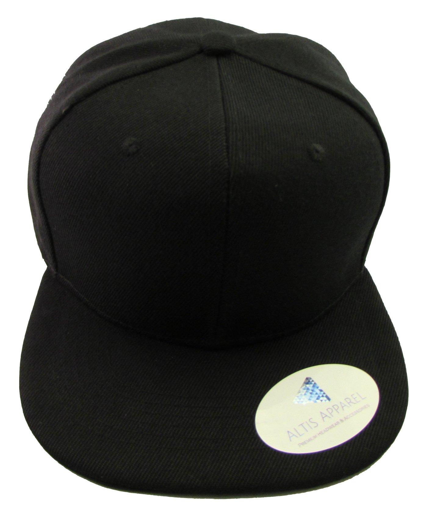 Altis Apparel Kid's Youth Flat Bill Snapback Hat - Hip Hop Baseball Cap (Solid Black)
