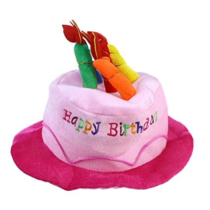 Toyvian Plush Birthday Cake Hat Headgear Costume Accessory For Adults PartyPink
