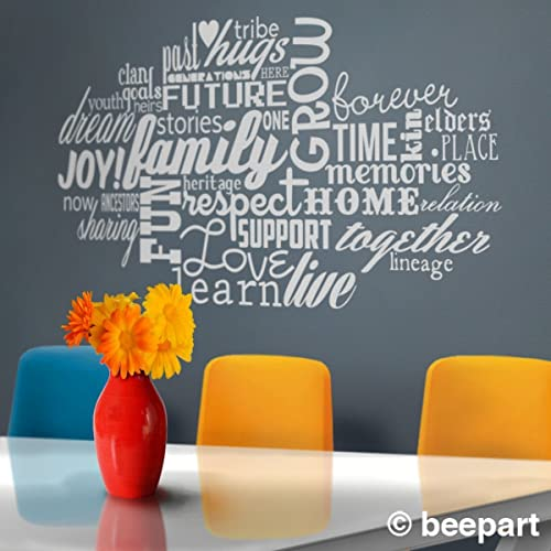 Family word cloud vinyl wall decal words about family love wall sticker art