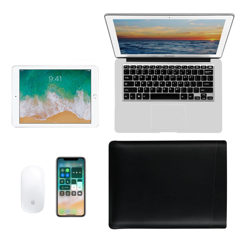 funda de piel de microfibra funda para Apple Macbook Air 13 Pro 13 pulgadas EooCoo Bolsa para port/átil Negro