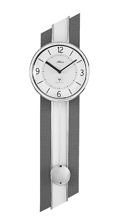 Atlanta Wanduhr, Metall, Weiß, 69 x 20 x 5 cm