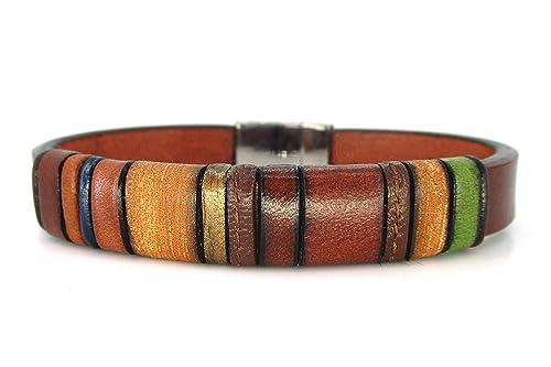 Pulsera cuero marrón, Enna Basic N 1, brazalete de cuero, accesorios para hombre, accesorios de cuero, regalos para hombre, cuero marrón: Amazon.es: Handmade