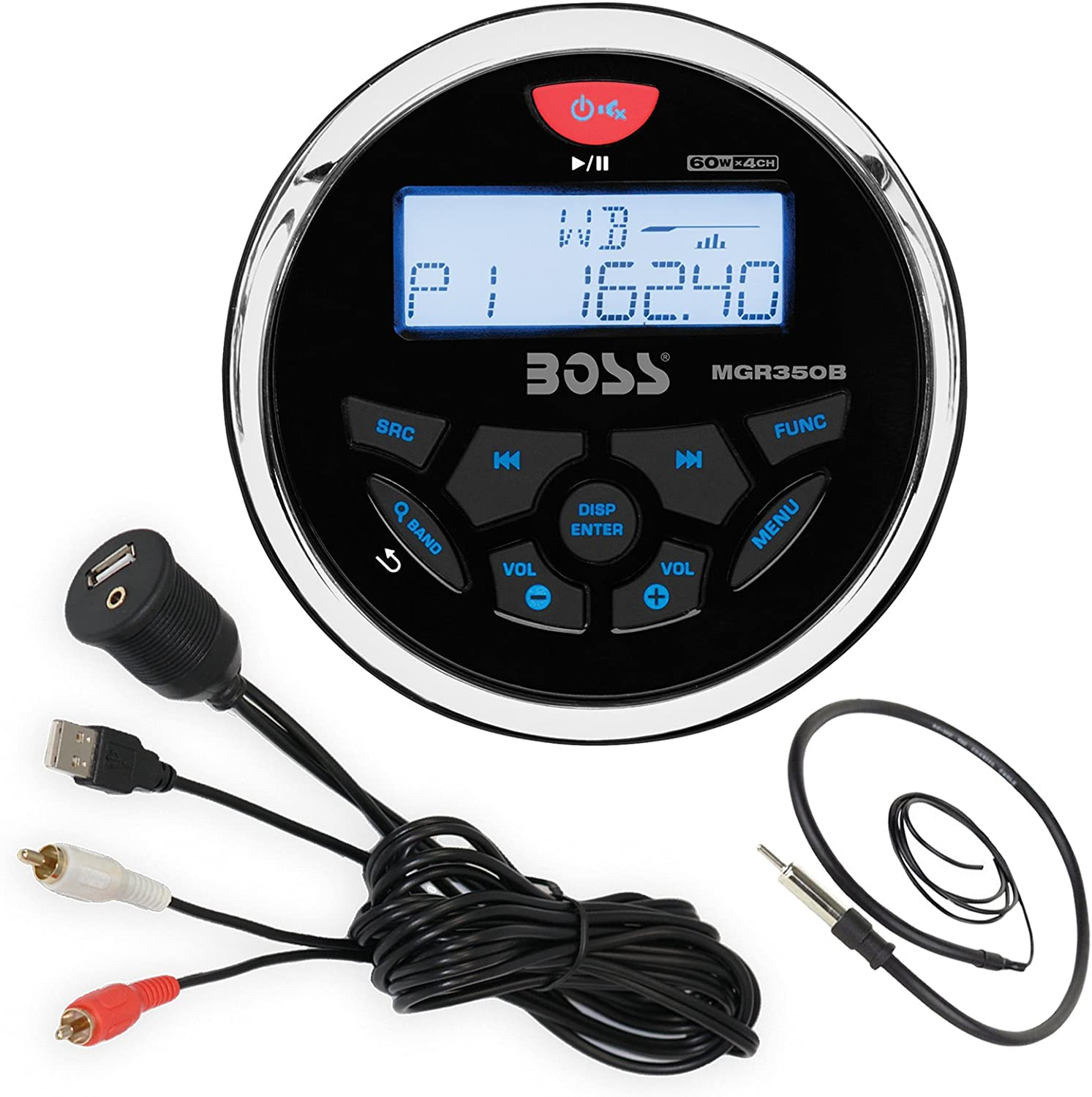 Enrock 22 Wired Radio Antenna Boss Audio MGR350B Bluetooth in Dash Marine Gauge Style Digital Media AM//FM Receiver Bundle Combo with Enrock USB 3.5MM AUX to RCA Interface Mount Cable