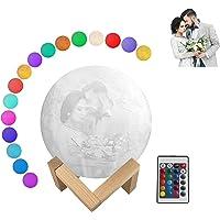 3D Moon Lamp Gepersonaliseerde Stand - Aangepast Maan Licht met Foto en Tekst, 16 Kleuren/2 Kleuren, USB Opladen Maan…