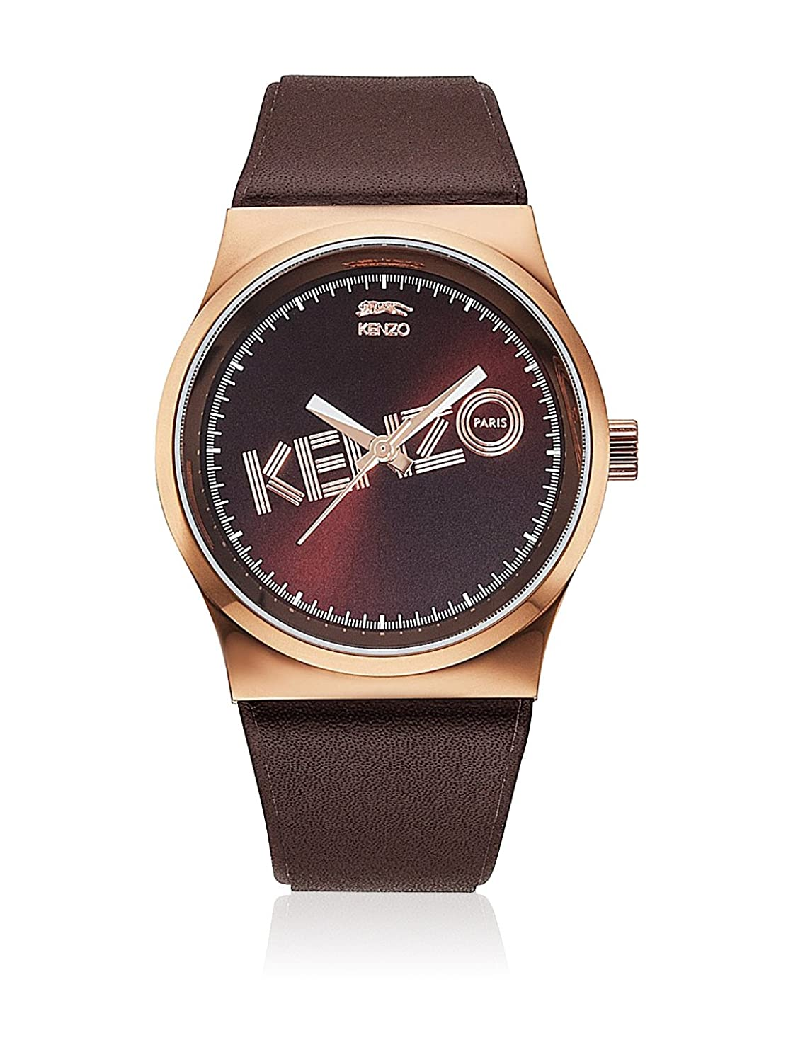 Kenzo Dix-Huit Unisex Brown Leather Watch 9600310