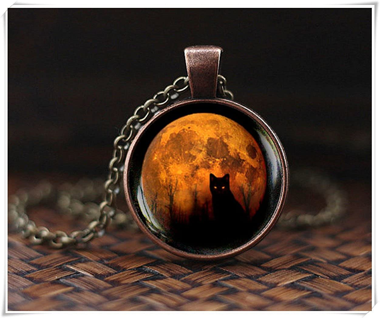 Full Moon Cat Necklace, Halloween Black cat necklace, Wiccan Necklace Dandelion chen