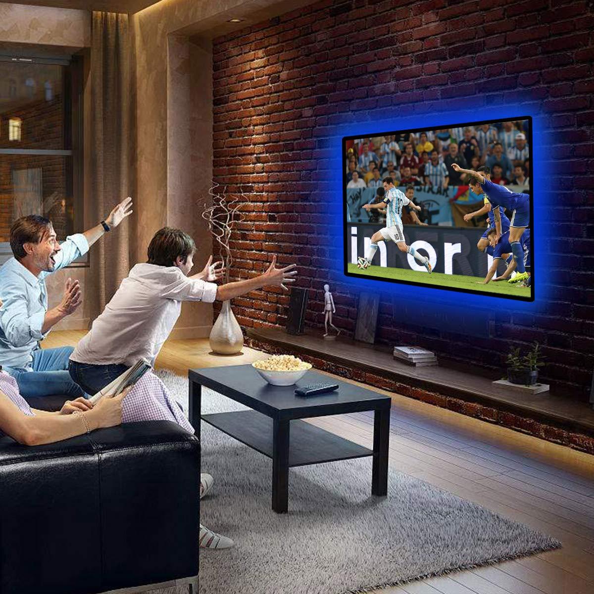 Tiras led de luz TV, INKERSCOOP retroiluminación LED para HDTV LED tira de luz RGB IP65 LED de iluminación Bias 2M tira LED flexible luz con 16 colores + ...