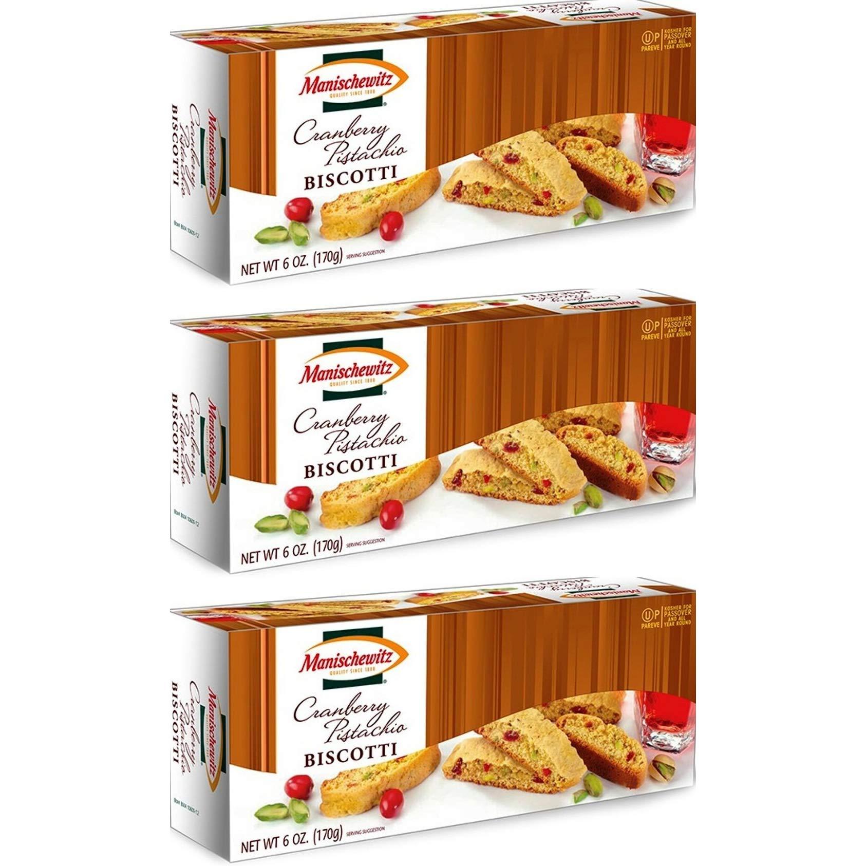 Manischewitz Cranberry Pistachio Biscotti KFP 6 Oz. Pack Of 3.