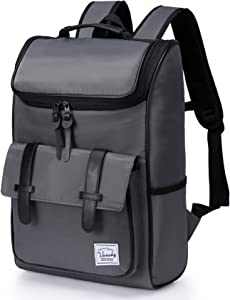Backpack for men,Vaschy Vintage Water Resistant Daypack Rucksack College School Backpack with Padded 15.6 inch Laptop Compartment