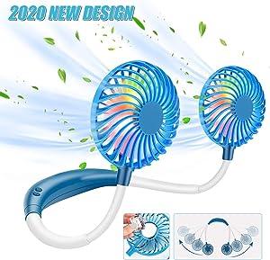 Portable Fan Hand Free Personal Fan Neck Fan Wearable Mini USB Desktop Fan, 3 Speeds, USB Rechargeable, 360 Degree Adjustment for Kids, Home Office Outdoor Travel(White+Blue)