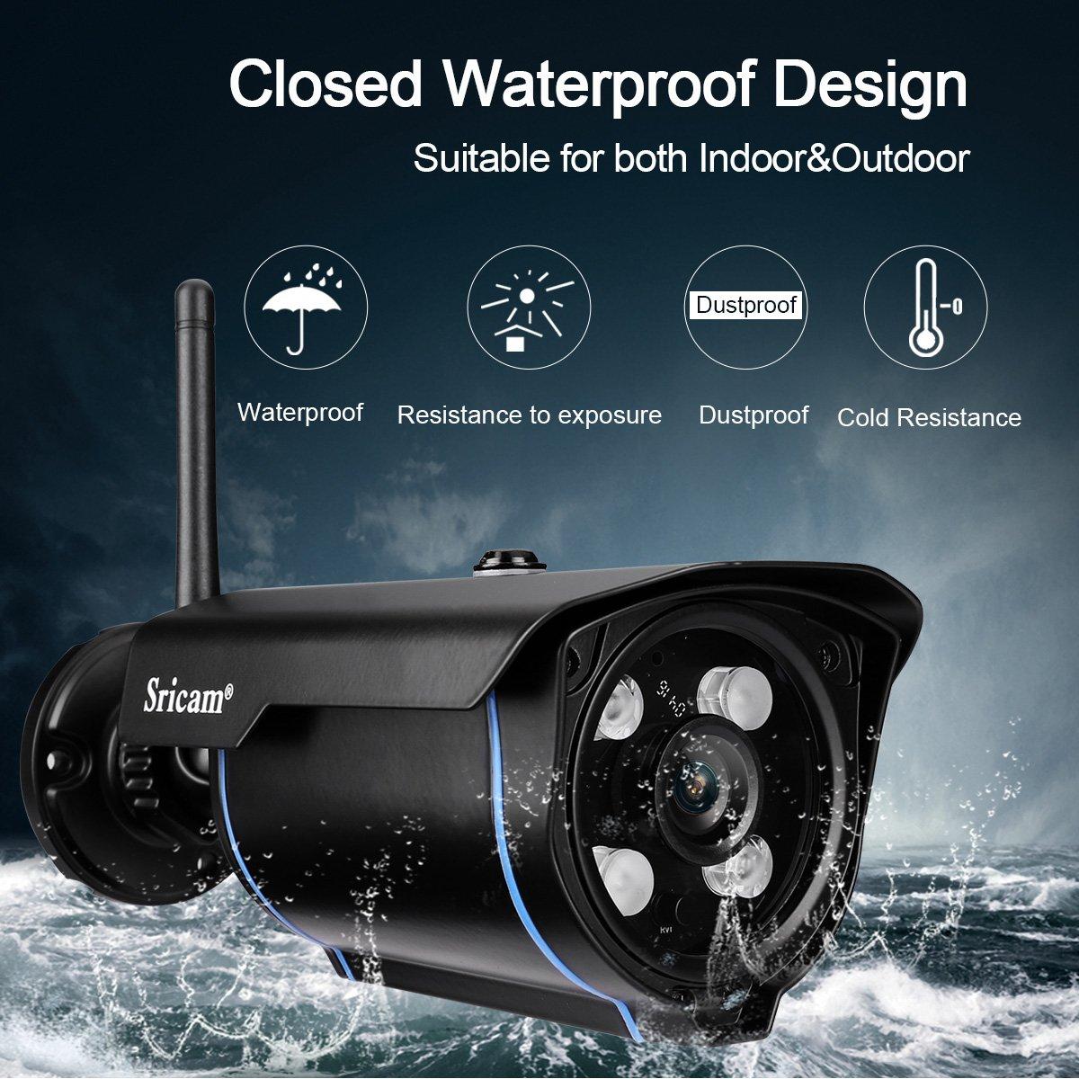 Sricam Cámara IP de seguridad Viginancia inalámbrica 720P ONVIF ,CCTV, P2P, detección de movimiento, visión nocturna,1.0 megapíxeles, expansión de memoria hasta 128G, negro, SP007