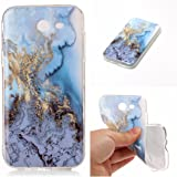 Galaxy J3 Emerge case marble, XYX Marble Pattern IMD Slim Fit Flexible Shockproof Anti-Scratch Anti-Fingerprint Case for Samsung Galaxy J3 Emerge / Galaxy J3 2017 [Sea Water Blue]