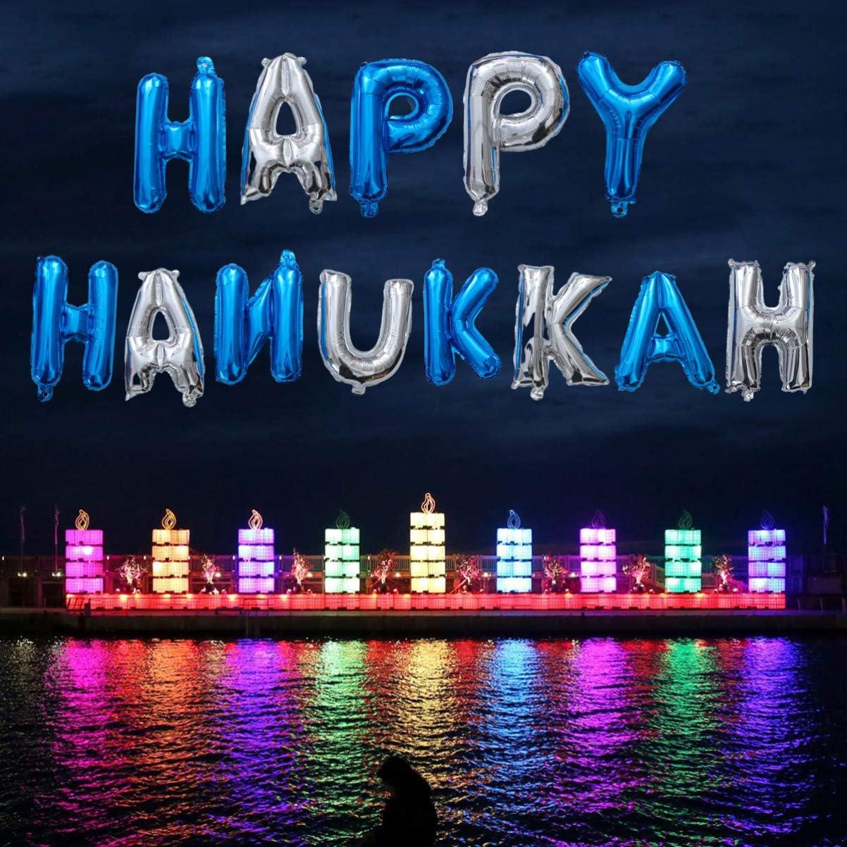 NUOBESTY d/écoration de Hanukkah 16 Pouces Articles de f/ête /à Chanukah Ballons de Joyeux Hanukkah