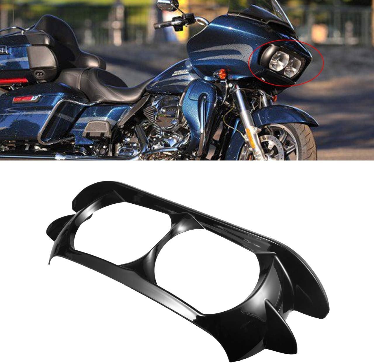Tuincyn Scheinwerfer Blende Scowl äußere Verkleidung Für 2015 2019 Harley Davidson Road Glide Glänzend Schwarz Auto