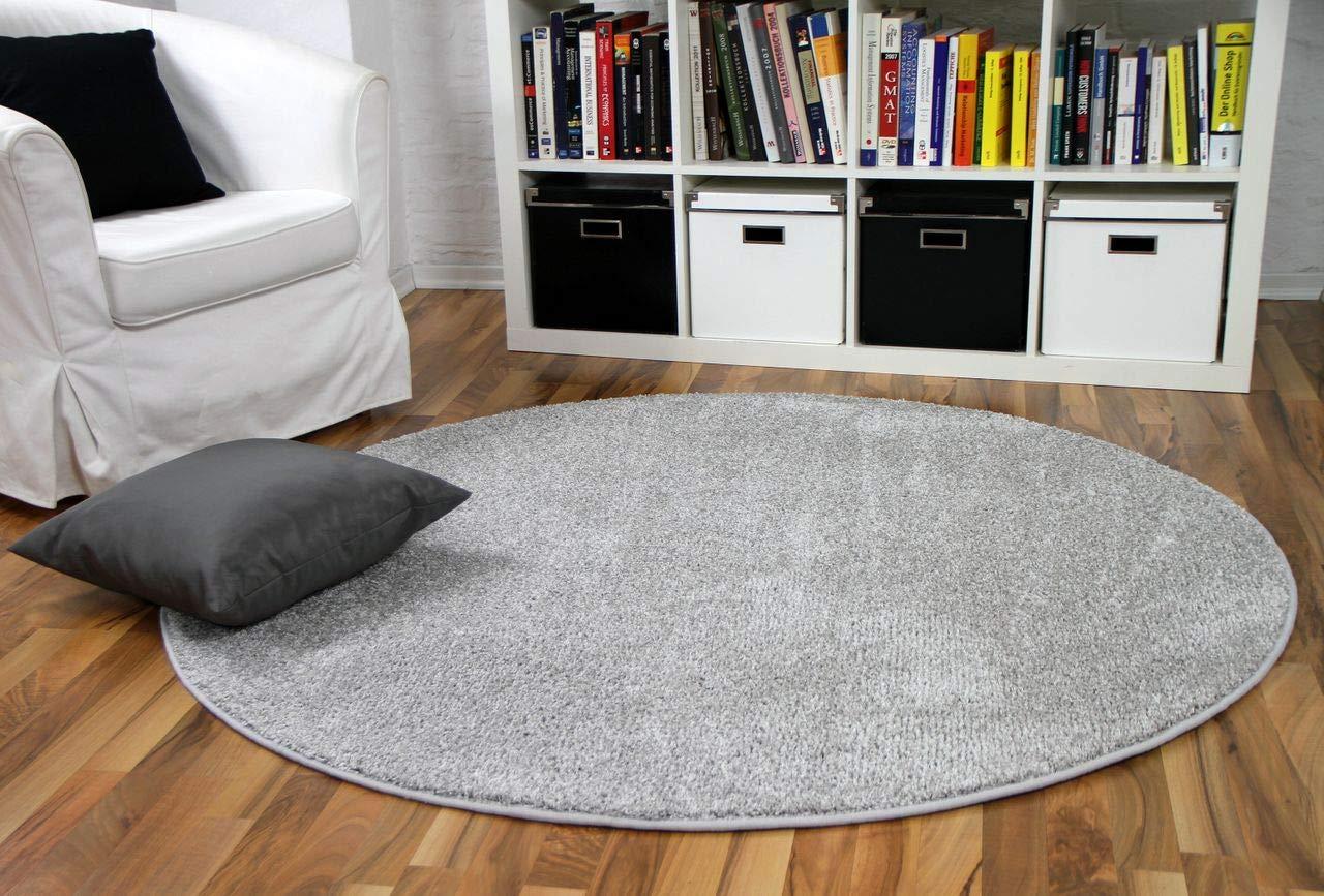 Hochflor Velours Teppich Mona Silbergrau Rund in 7 7 7 Größen B07BX7QC32 Teppiche & Lufer 263c0f