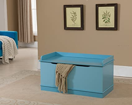 Kings Brand Furniture Wood Storage Bench Toy Box Turquoise Blue & Amazon.com: Kings Brand Furniture Wood Storage Bench Toy Box ...