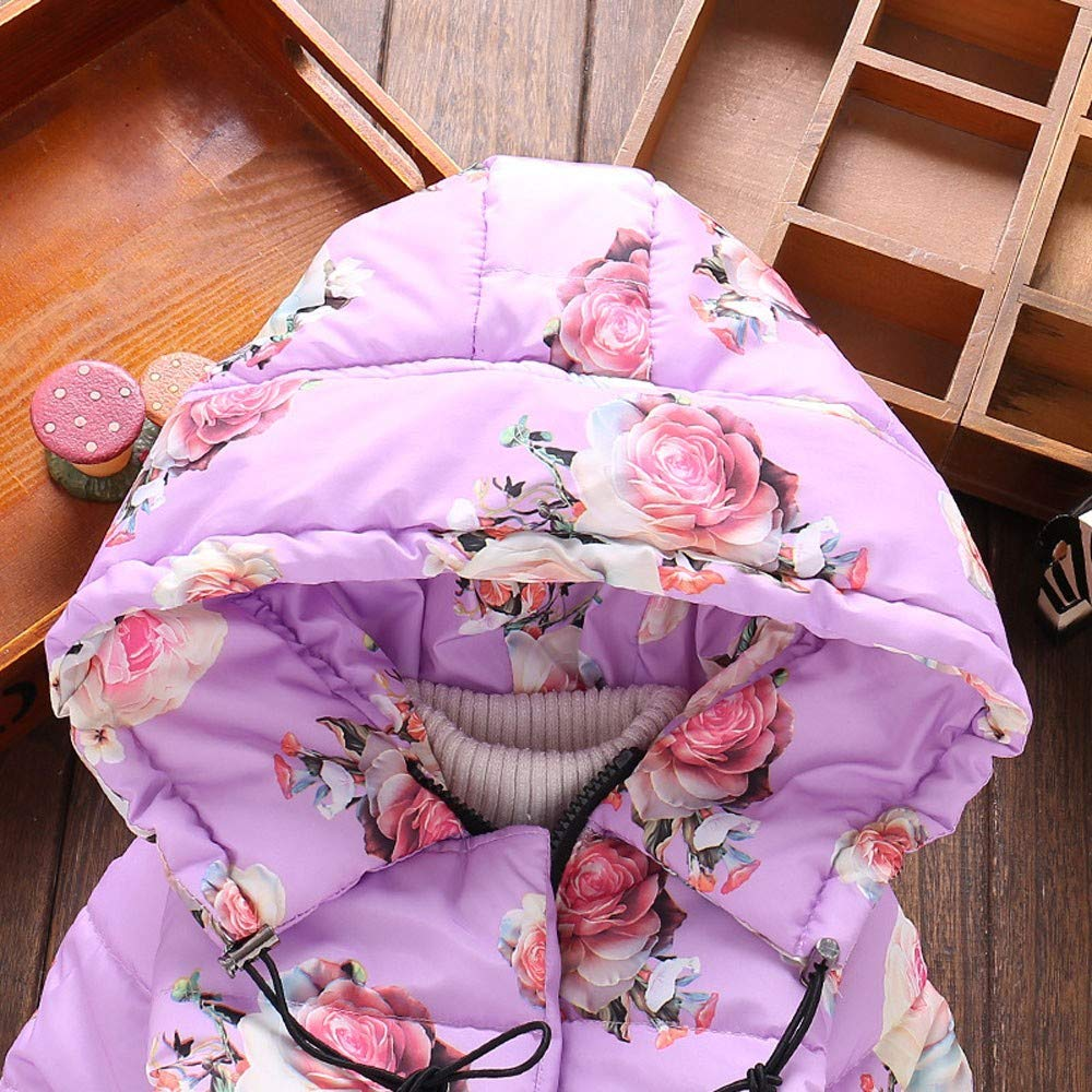 Baby Girl Coat,Fineser Winter Toddler Baby Girl Floral Print Zipper Pockets Hooded Warm Thick Jacket Windproof Coat 4 Color