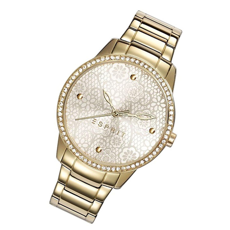 Esprit Uhr Secret Garden gold Quarz Strass runde Damenarmbanduhr ES108882002