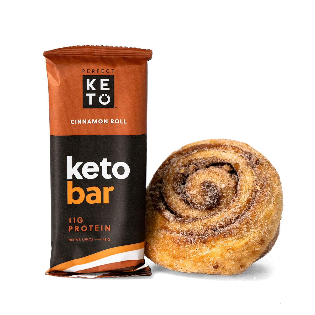 Perfect Keto Bar, Keto Snack, No Added Sugar. 10g of Protein, Coconut Oil, and Collagen, with a Touch of Sea Salt and Stevia. (12 Bars (1 Box), Cinnamon Roll) by Perfect Keto