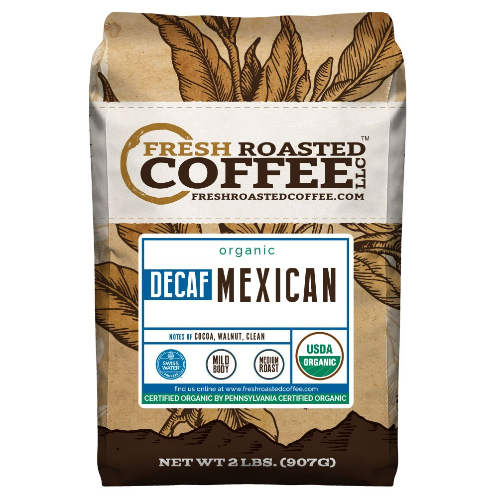 Organic Mexican Swiss Water Decaf Coffee, Whole Bean Bag, Swiss Water Processed, Fresh Roasted Coffee LLC. (2 LB.)