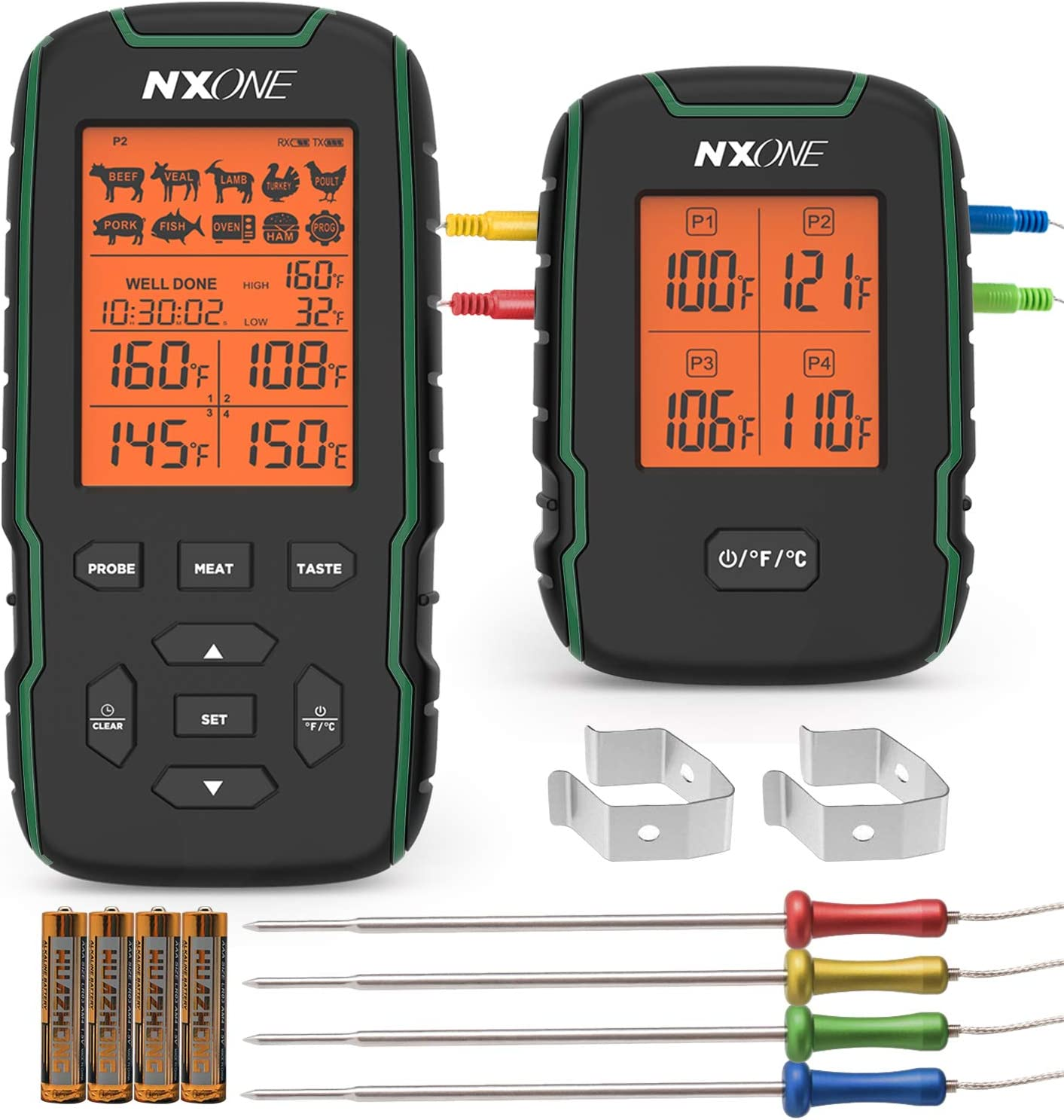 NXONE Wireless Meat Thermometer, 500FT Digital Meat Thermometer for Grilling, Accurate & Fast Remote Smoker Thermometer with 4 probes, Alert, Timer, Cooking Thermometer for Smoker, Grill, BBQ, Oven