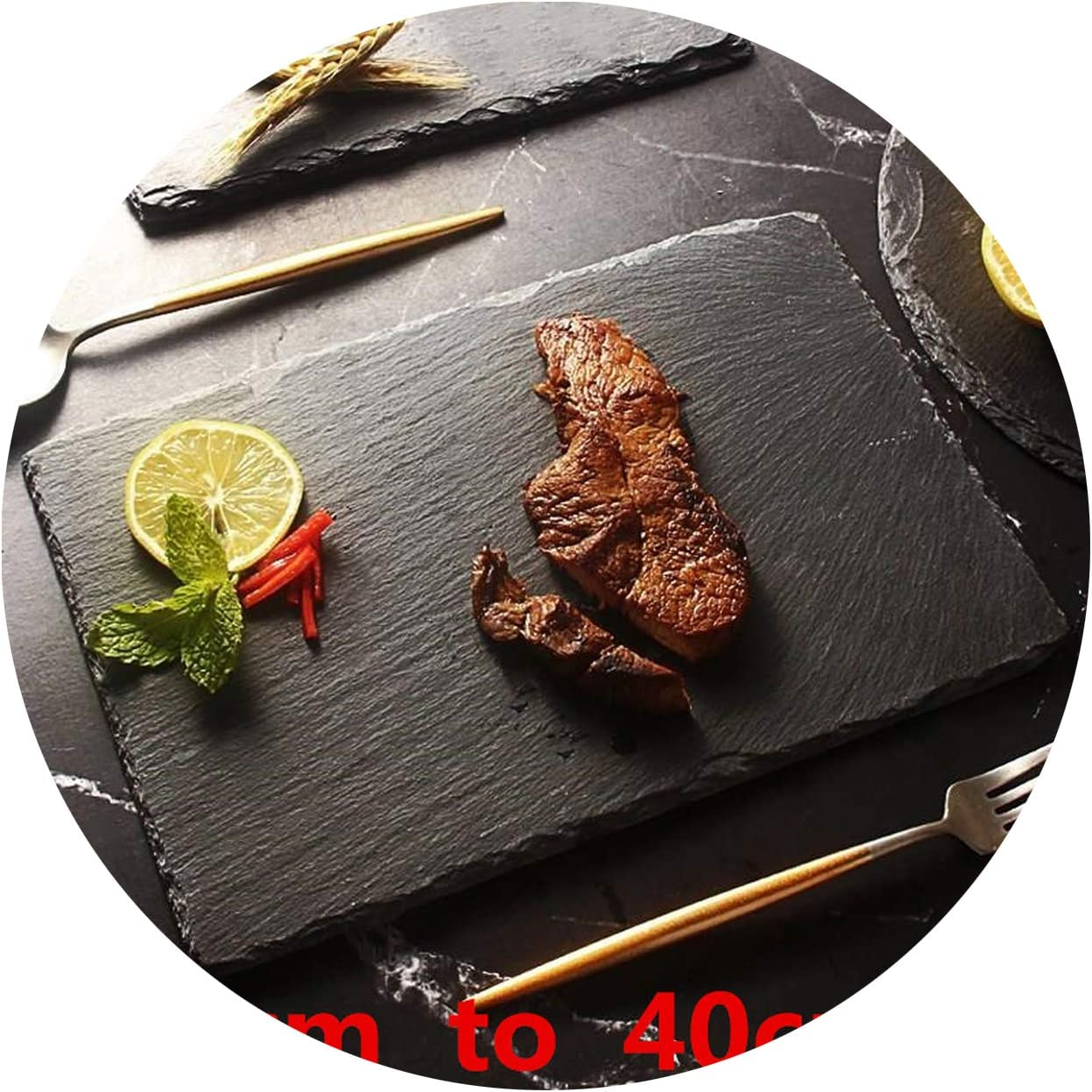 Natural Black Western Slate stone Dishes Solid Square Sushi Steak Barbecue BBQ Plate Cheese Pizza Dessert cake Fruit dish Tray,45x25cm
