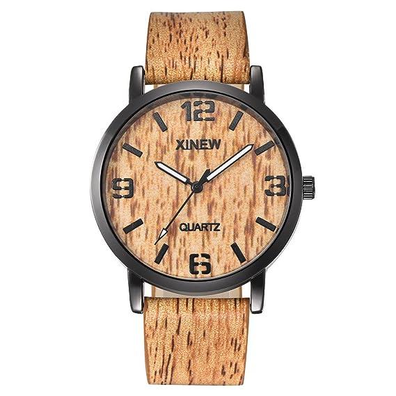 XINEW Mujeres Hombres Reloj de Textura de Madera Reloj de Cuarzo ...