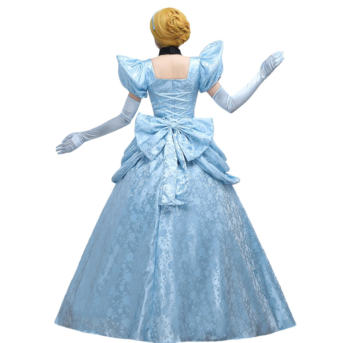Angelaicos Women's Luxury Light Blue Party Long Dress Costume Ball Gown (L) by Angelaicos (Image #5)