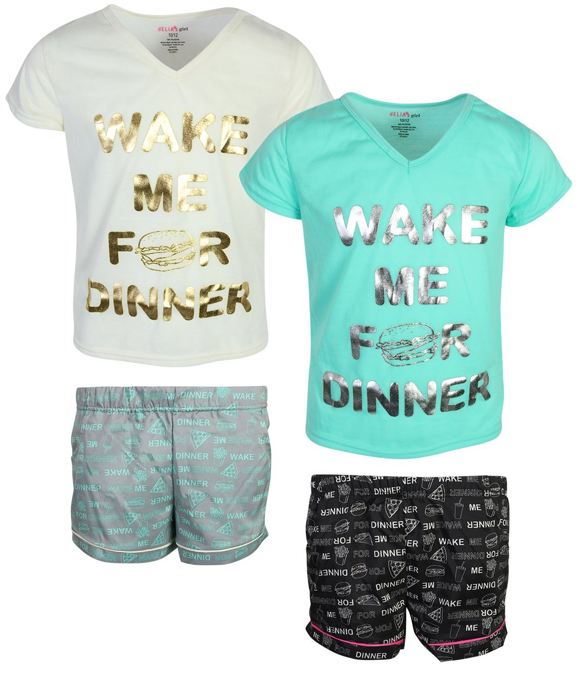 dELiA*s dELiAs Girls Woven/Knit Short Pajama Set (2 Pack), Dinner, Size 10/12' by dELiA*s