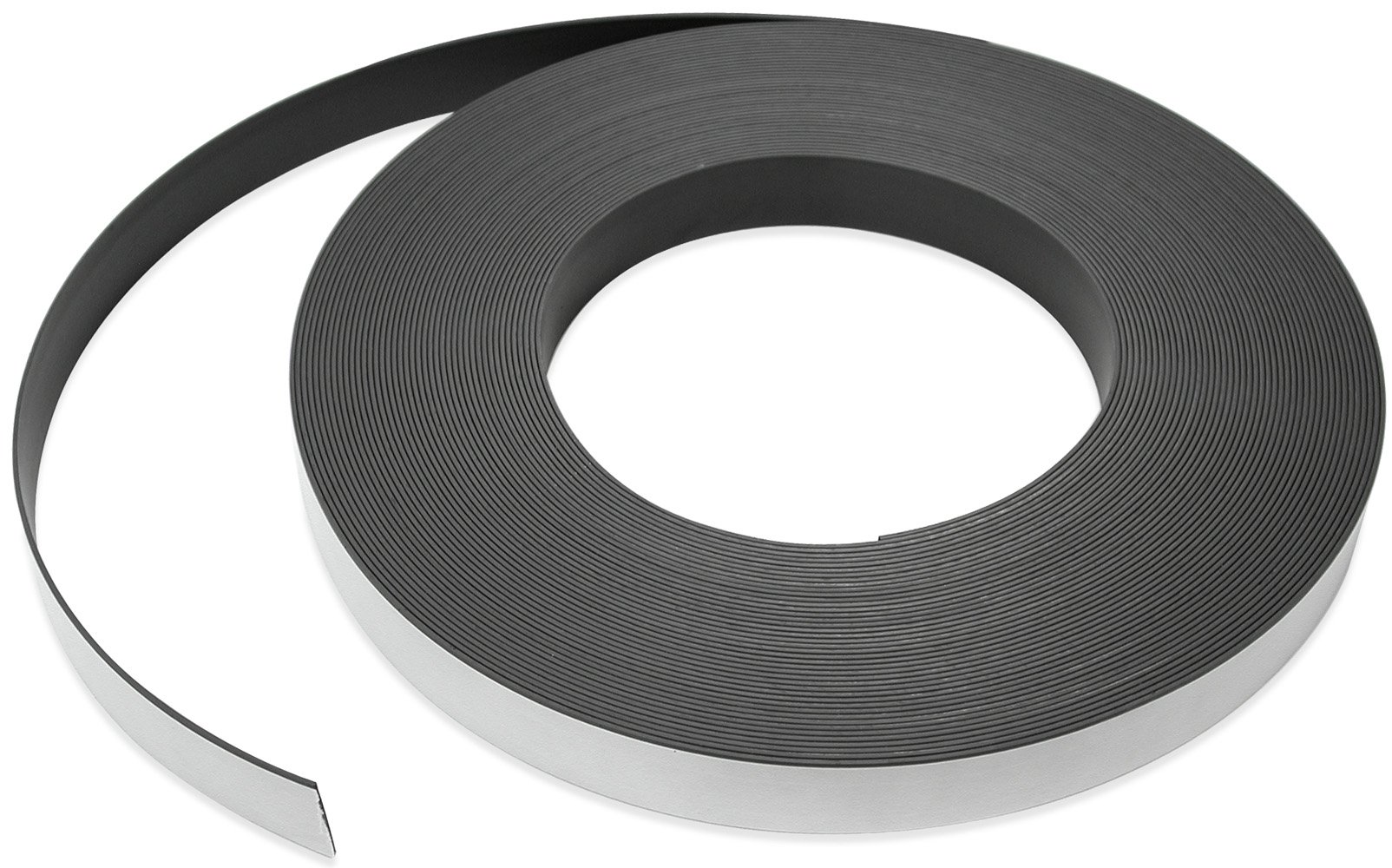 Flexible Magnet Strip with White Vinyl Coating, 1/16'' Thick, 1'' Height, 100 Feet, 1 Roll