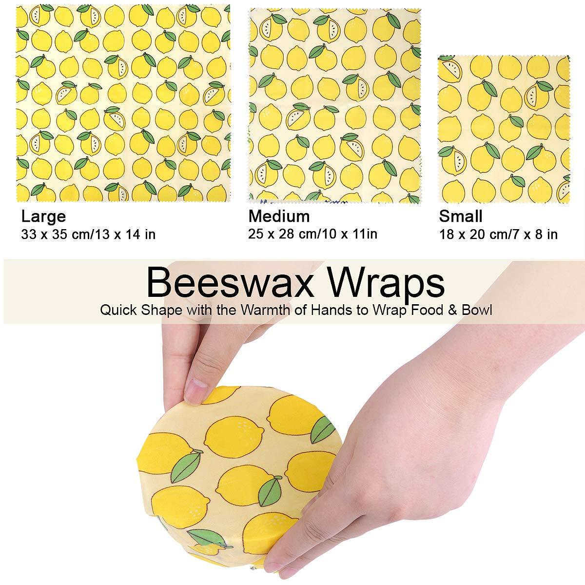 Bee Wrap Set di 3 Involucri Riutilizzabili Per Alimenti E Pacchetto Da Pranzo Non Realizzati In Plastica Per Sandwich Coperchi Lavabili Per Ciotole Involucri In Cera Dapi Riutilizzabili Limone