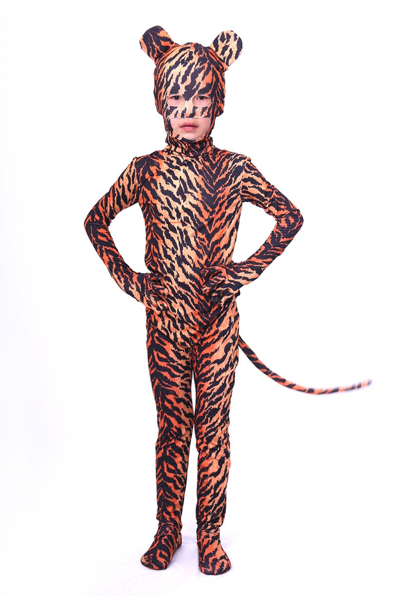 - 71Oh5Xzg0AL - Verhero Adult Kids Halloween Cosplay Animal Zentai Tiger Bodysuit with Ear Tail