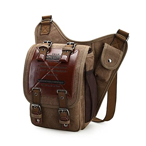 9ef1f1d43b Chikencall Mens Boys Vintage Canvas Bags Retro Casual Shoulder Bag Leather  Single Shoulder Cross Body Bag