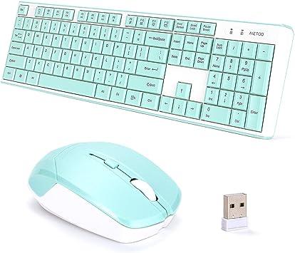 MeToo C160 - Juego de Teclado y ratón inalámbricos ultrafinos ...