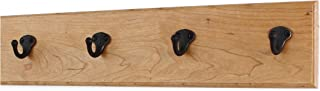 """product image for PegandRail Solid Cherry Wall Coat Rack with Aged Bronze Single Style Coat Hooks 4.5"""" Ultra Wide - Made in The USA (Natural, 20"""" x 4.5"""" with 4 Hooks)"""
