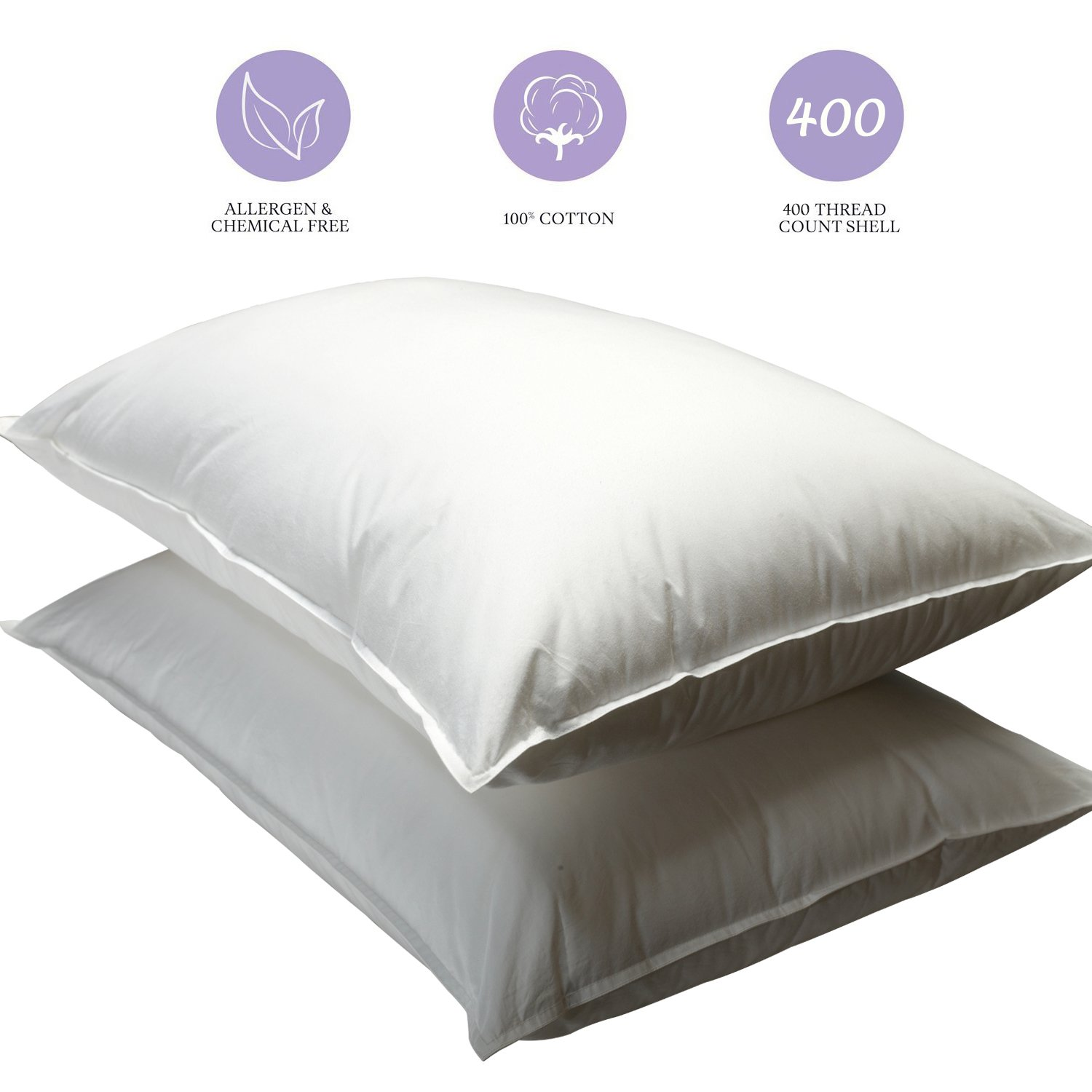 amazoncom yalovo pillows for sleeping 2 pack white pillow 400 thread count 100 egyptian cotton 5star hotel pillows 100 guarantee queen