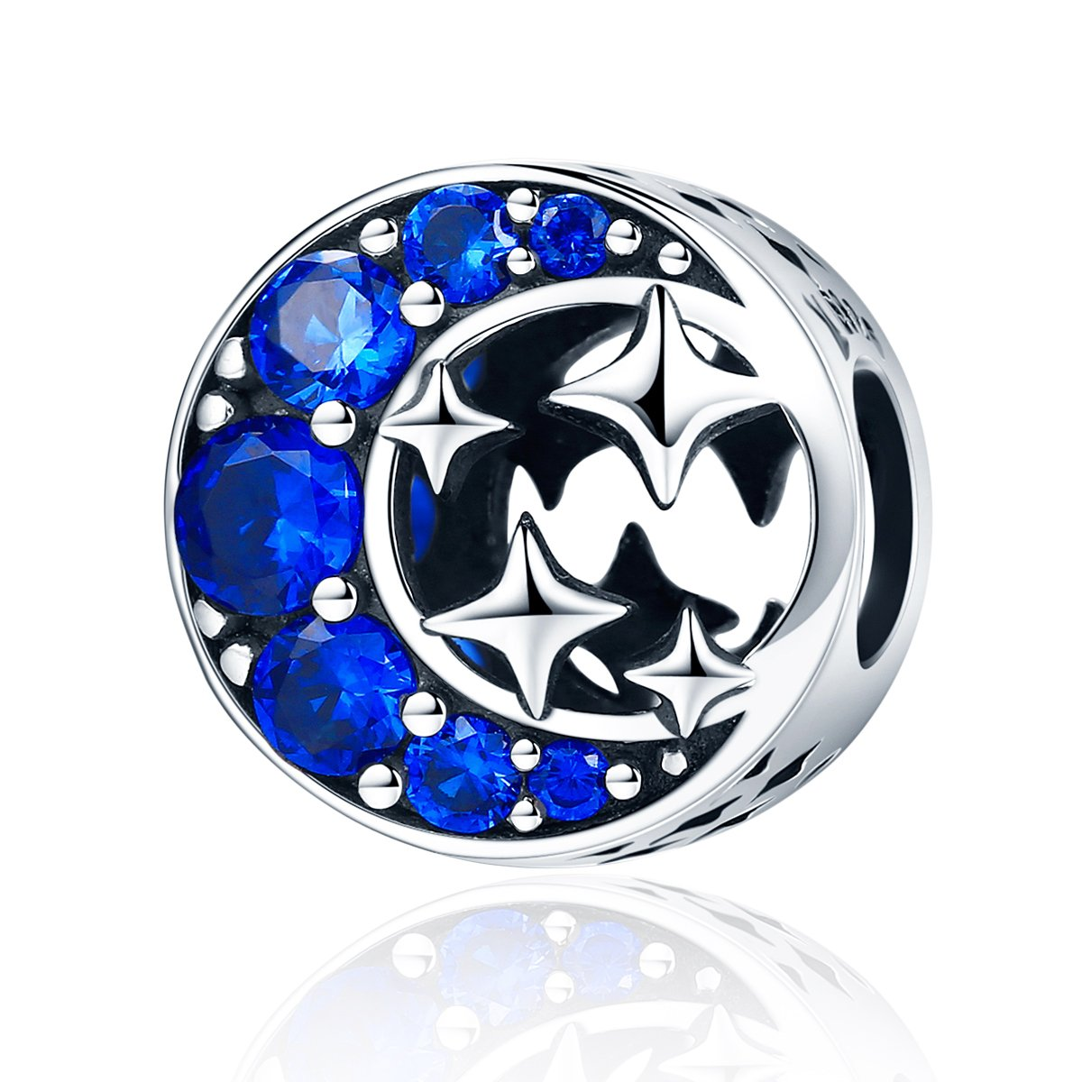 WOSTU Luxury Moon and Star Charms Sterling Silver Cunic Zirconia Beads for Charm Bracelets