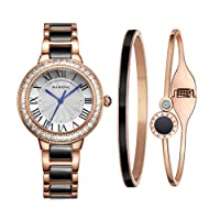 MAMONA Women's Watch Bracelet Gift Set Crystal Accented Ceramic/Stainless Steel Band L68008GT