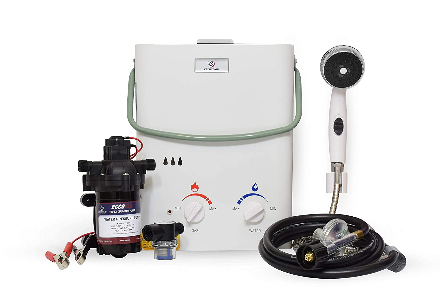 Eccotemp L5 Portable Outdoor Tankless Water Heater w/EccoFlo Diaphragm 12V Pump and Strainer