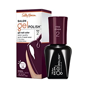 Sally Hansen Salon Gel Polish Nail Lacquer, Pat On The Black, 0.14 Fl Oz
