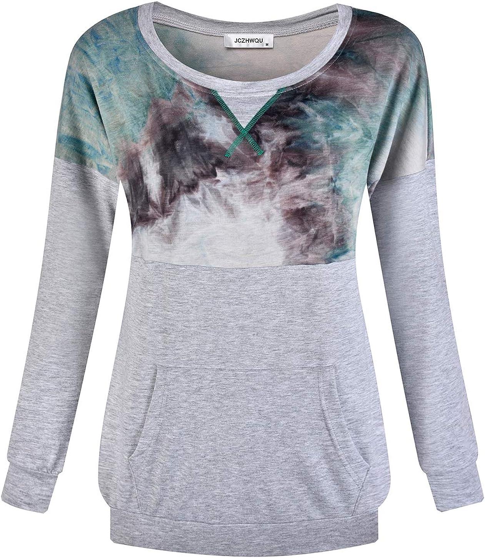 JCZHWQU Womens Casual Crewneck Long Sleeve Pullover Tunic Sweatshirt with Pockets