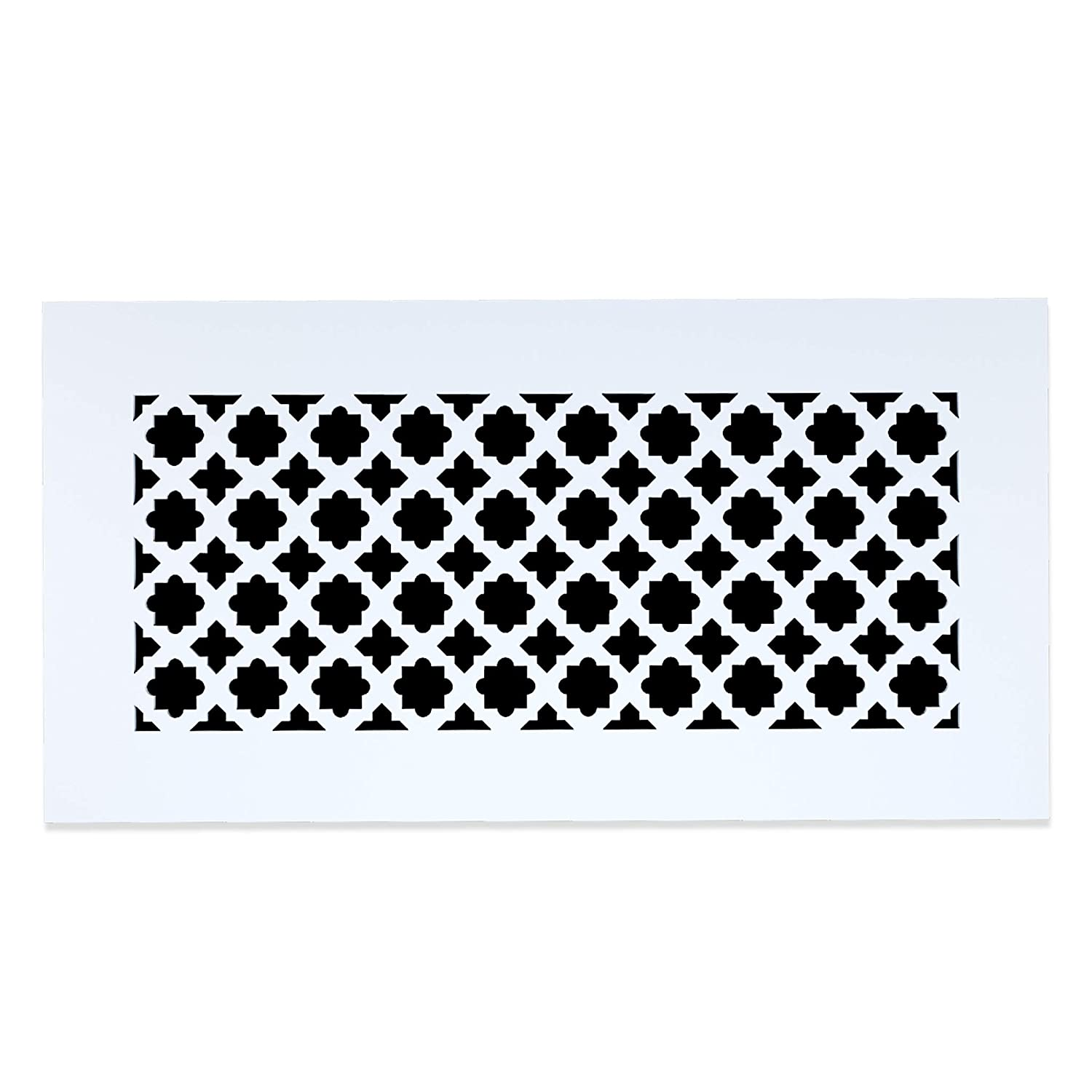 "Saba Air Vent Cover Grille - Acrylic Plexiglass 6"" x 14"" Duct Opening (8.5"" x 16.5"" Overall) White Finish Decorative Register Covers for Walls and Ceilings NOT for Floor USE, Venetian"