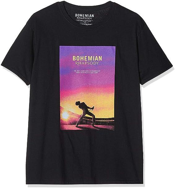 Rockoff Trade Queen Bohemian Rhapsody (Back Print), Camiseta para Hombre, Negro Black